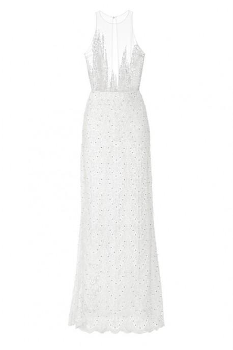 Suknia biała maxi ze stójką PIANO-FORTE