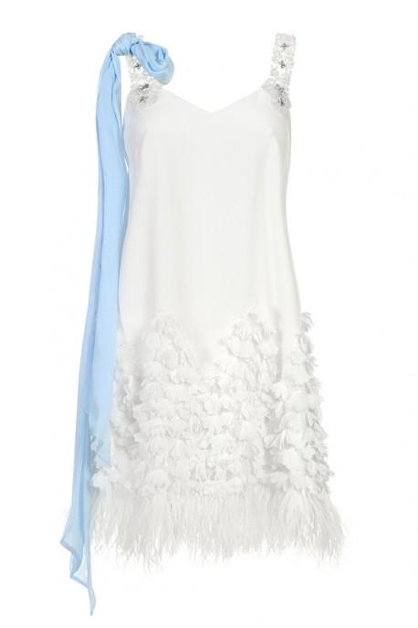 Sukienka biała na ramiączka PIANO-FORTE