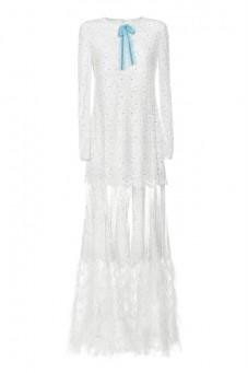 Suknia maxi biała z haftu szwajcarskiego PIANO-FORTE