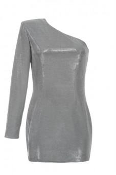 Sukienka srebrna na jedno ramię Baroq&Roll