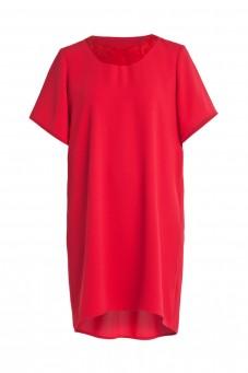 Czerwona sukienka z zamszowym dekoltem