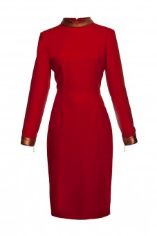 Red dress with leather collar THE ONE