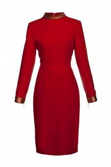Sukienka czerwona ze skórzanym kołnierzem THE ONE