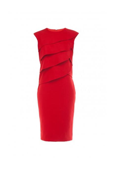 Sukienka z drapowaniem czerwona