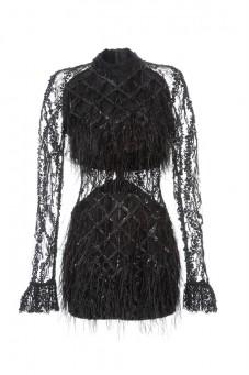 Sukienka czarna w piórka PIANO-FORTE (NA ZAMÓWIENIE)