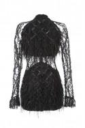 Sukienka czarna w piórka PIANO-FORTE