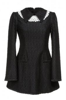 Sukienka czarna z kołnierzykiem PIANO-FORTE