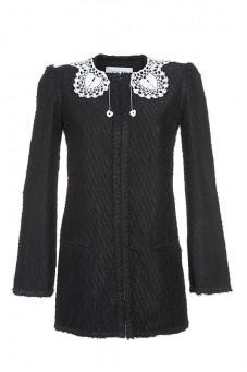 Sukienka czarna z ozdobnym kołnierzykiem PIANO-FORTE