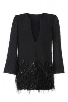 Sukienka mini czarna z piórkami PIANO-FORTE