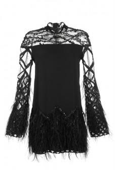 Sukienka czarna koronka ze stójką PIANO-FORTE (NA ZAMÓWIENIE)