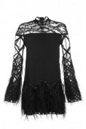 Sukienka czarna koronka ze stójką PIANO-FORTE