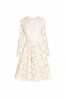 Suknia koronkowa z kołnierzykiem
