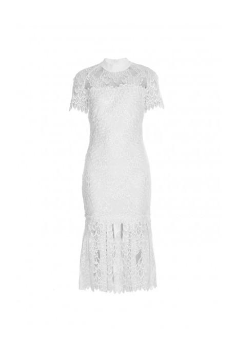 Sukienka midi koronka biała Wonderland