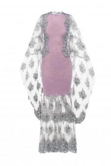 Maxi suknia z perłami i koronką