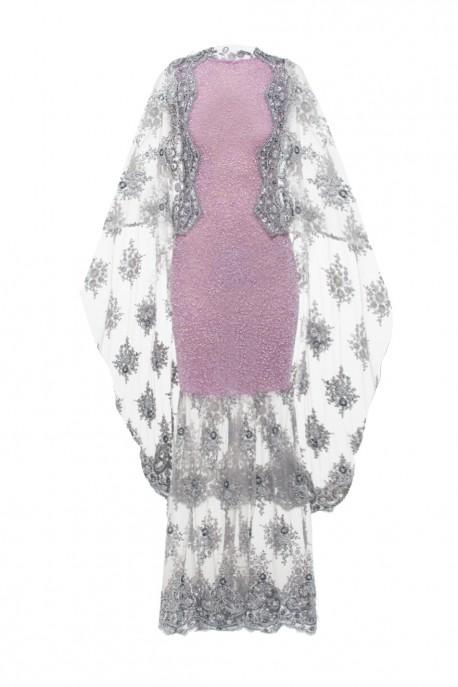 Koronkowa suknia z narzutką lawendowa