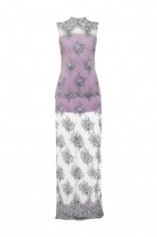 Maxi suknia z perłami lawendowa