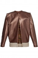 Leather jacket with silk