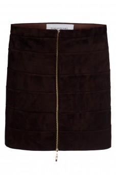 Spódnica zamszowa brąz mini