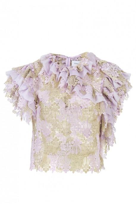 Bluzka różowo - złota z gipiury LaDorothée