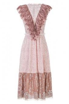 Sukienka koronkowa z żabotem LaDorothée