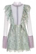 Sukienka mini z żabotem i transparentnymi rękawami LaDorothée