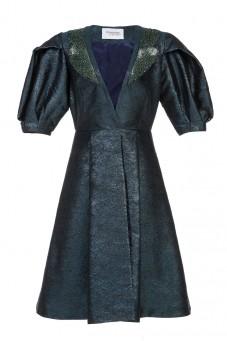 Żakardowy płaszcz z bufiastymi rękawami LaDorothée