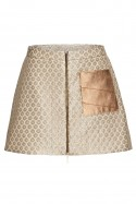 Gold silk mini skirt