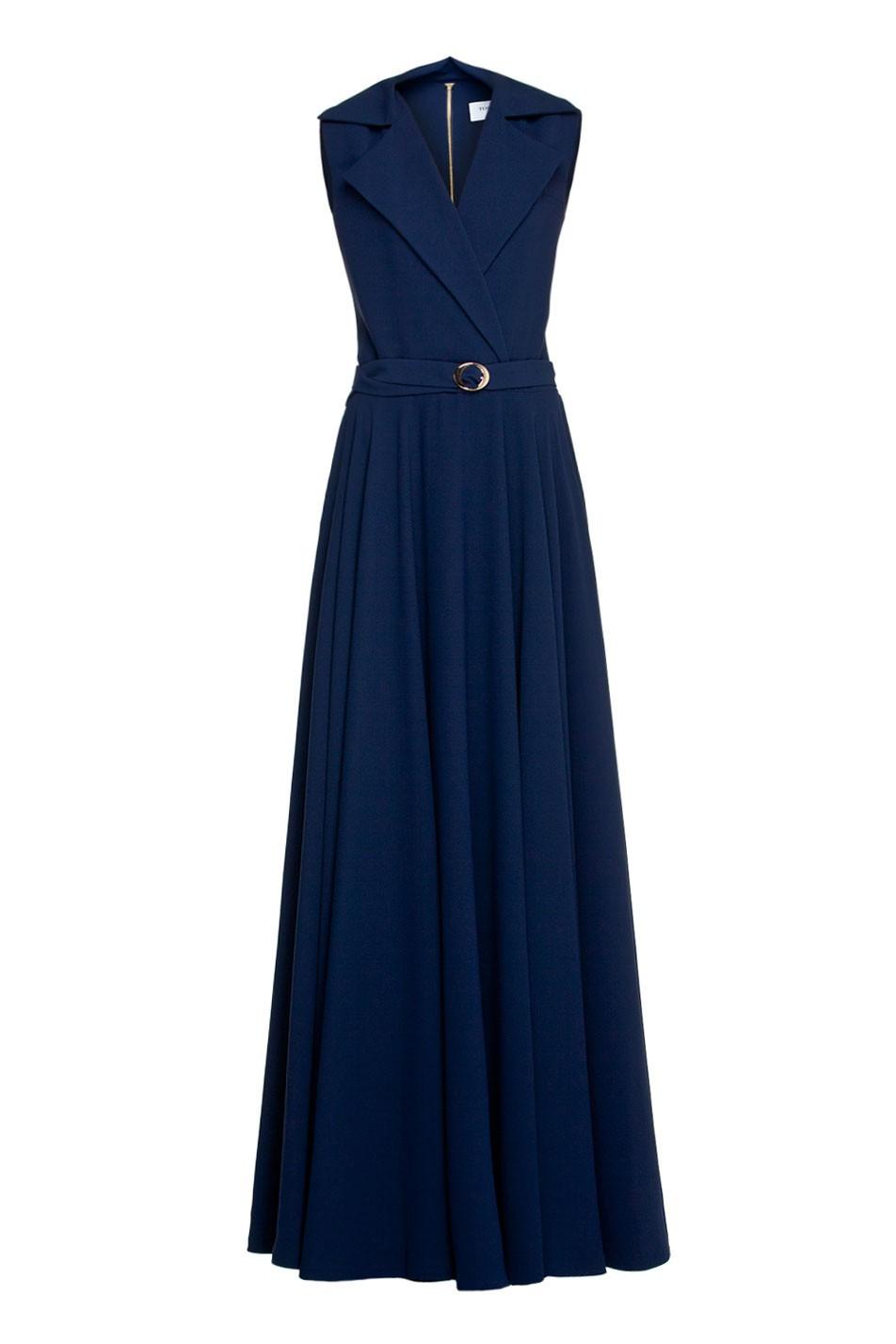 maxi dress with belt tomaotomo