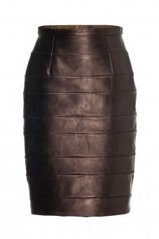 Spódnica skóra brąz